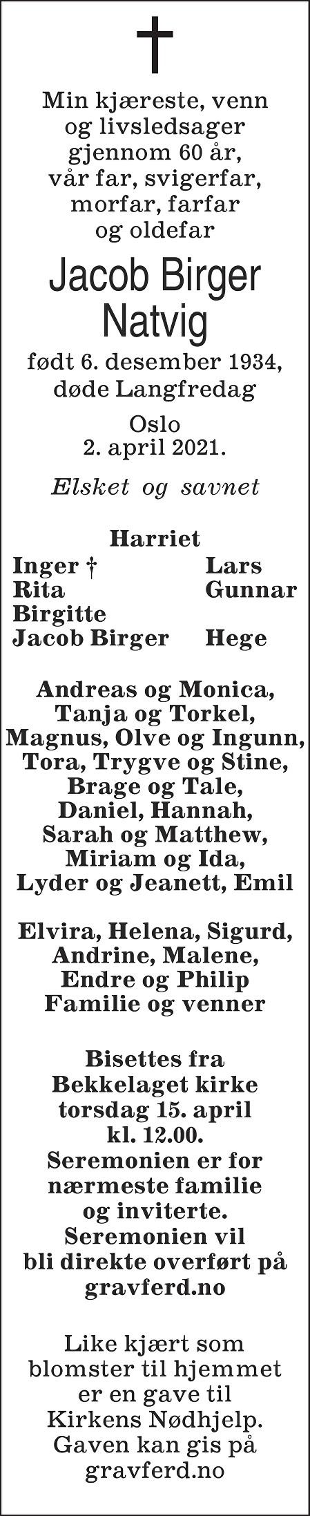 Jacob Birger Natvig Dødsannonse
