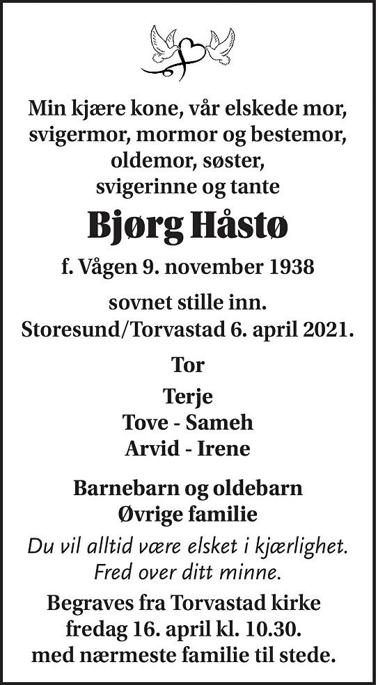 Bjørg Håstø Dødsannonse