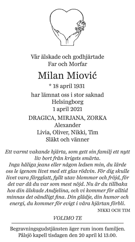 Milan Miovic Death notice