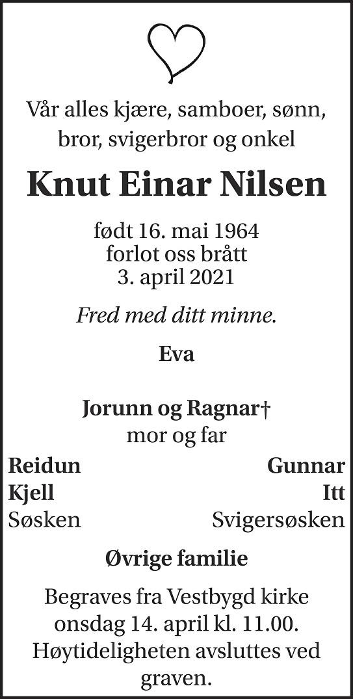 Knut Einar Nilsen Dødsannonse