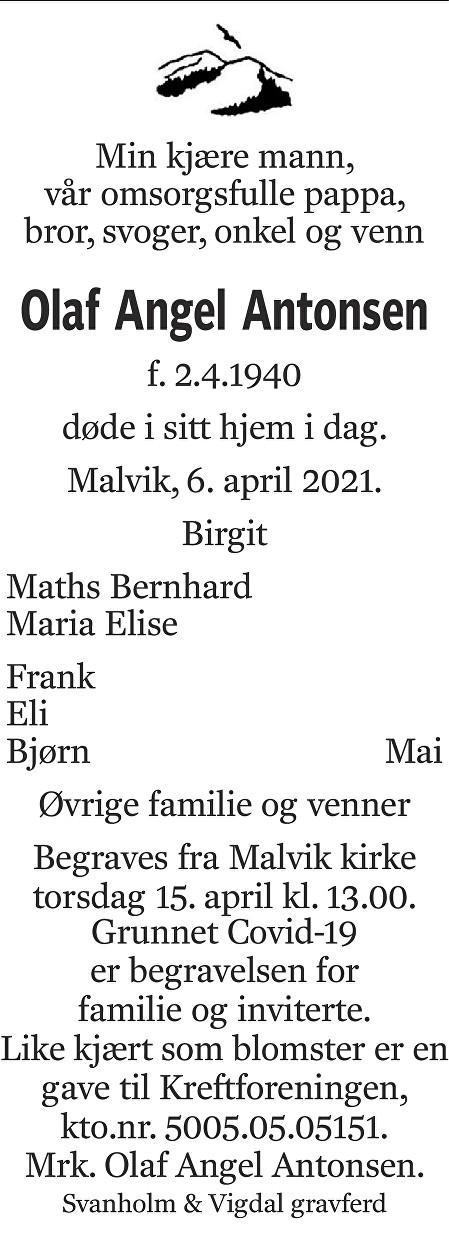 Olaf Angel Antonsen Dødsannonse