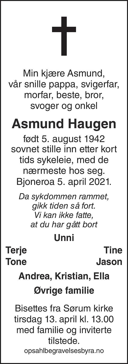 Asmund Ingolf Haugen Dødsannonse