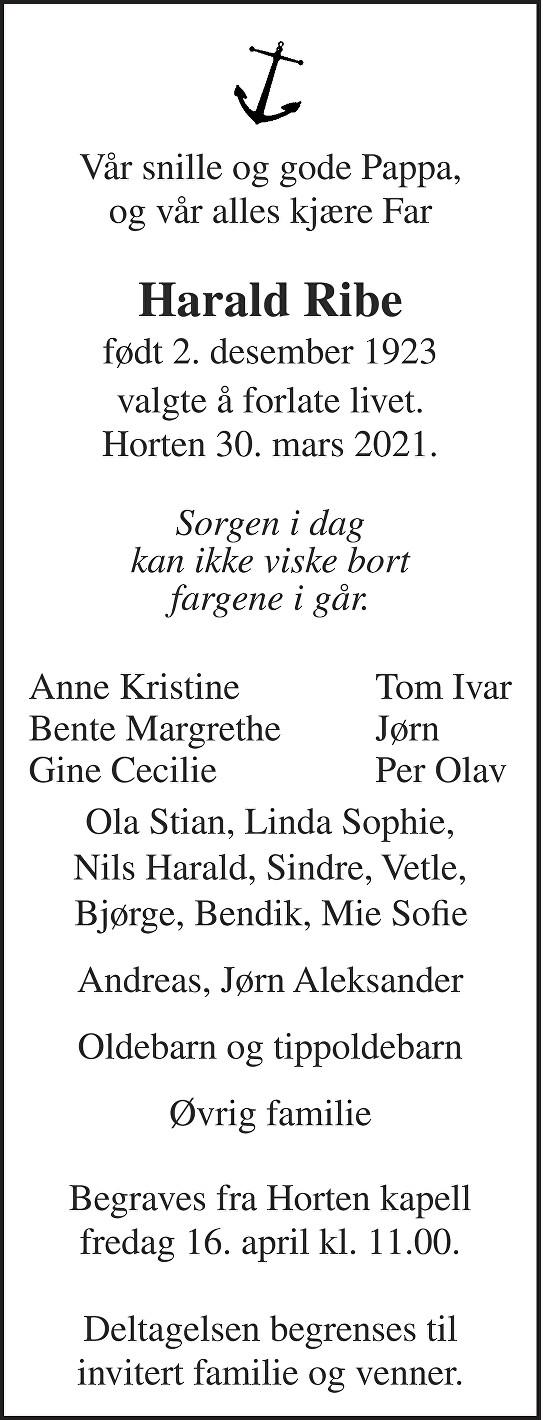 Harald Ribe Dødsannonse