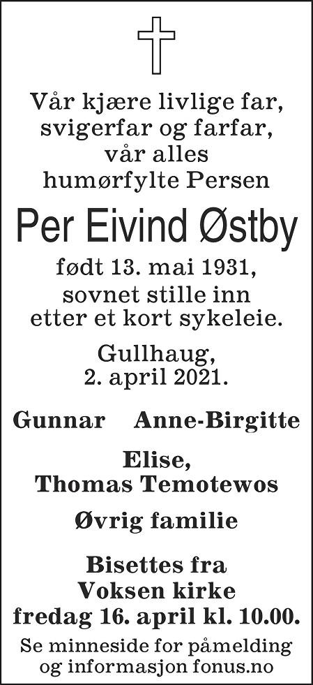 Per Eivind Østby Dødsannonse
