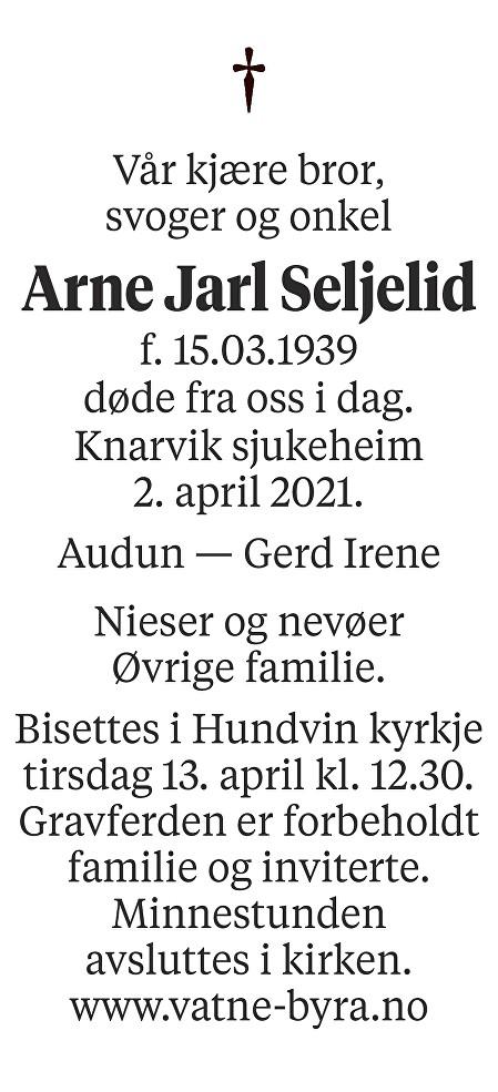 Arne Jarl Seljelid Dødsannonse