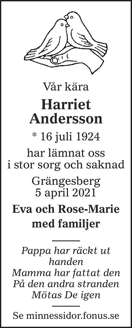 Harriet Ingeborg Andersson Death notice