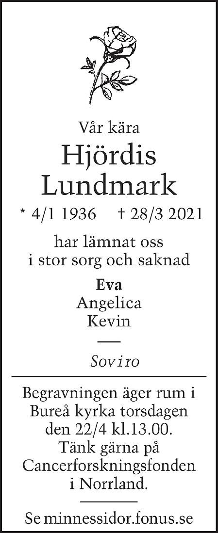 Hjördis Lundmark Death notice