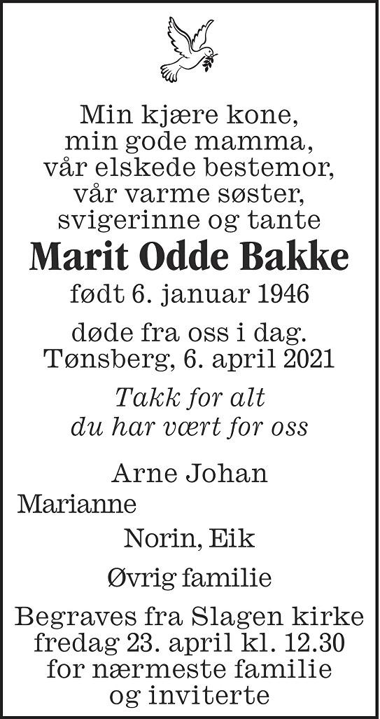 Marit Odde Bakke Dødsannonse