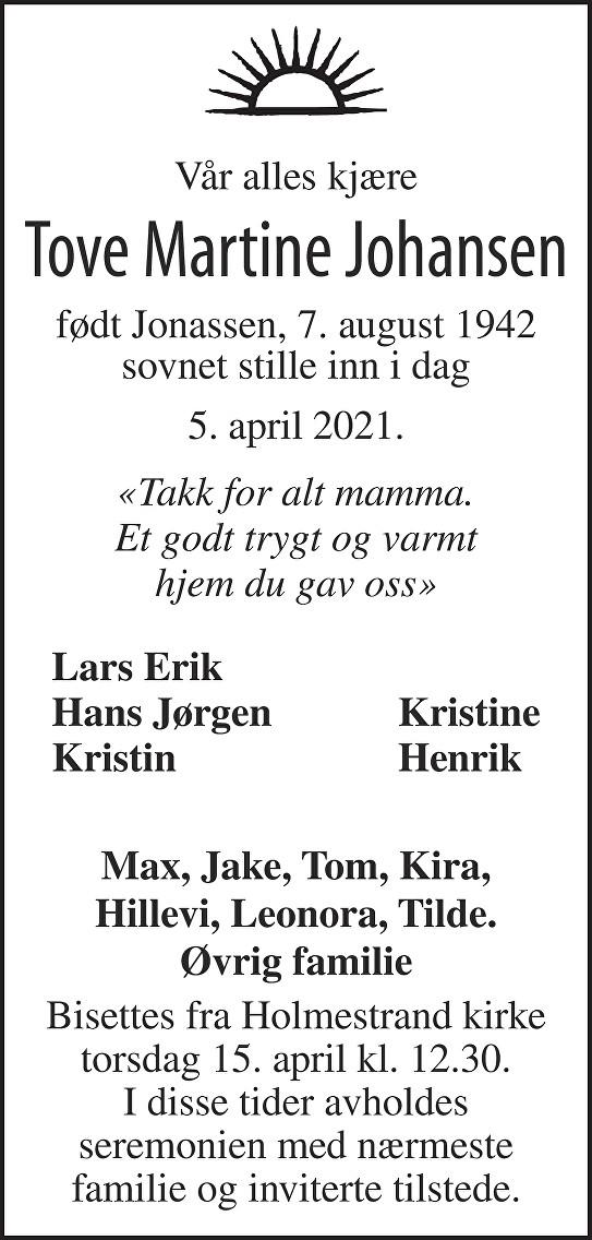 Tove Martine Johansen Dødsannonse
