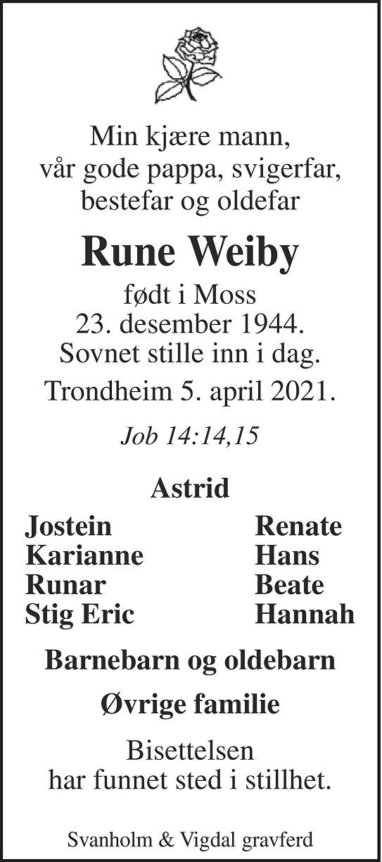 Rune Weiby Dødsannonse
