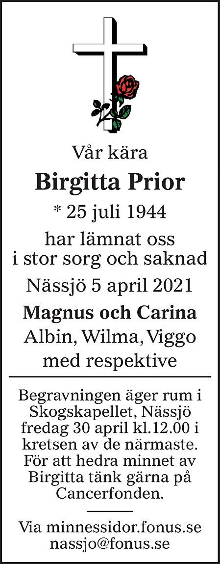 Birgitta Prior Death notice
