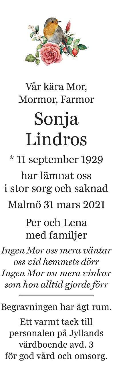 Sonja Lindros Death notice