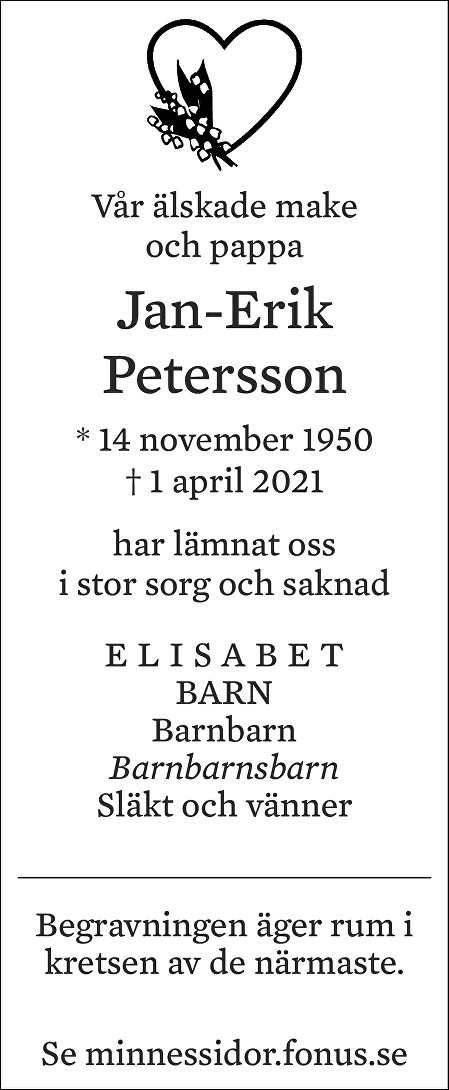 Jan-Erik Petersson Death notice