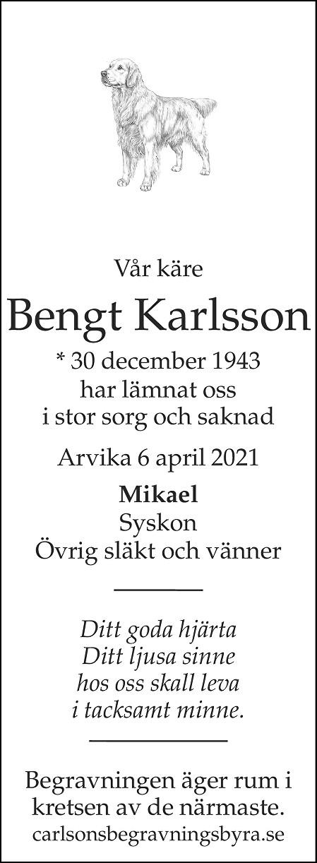 Bengt Karlsson Death notice