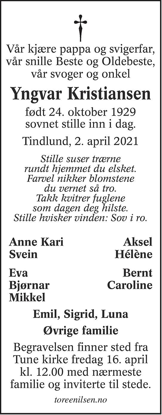 Yngvar Josef Kristiansen Dødsannonse