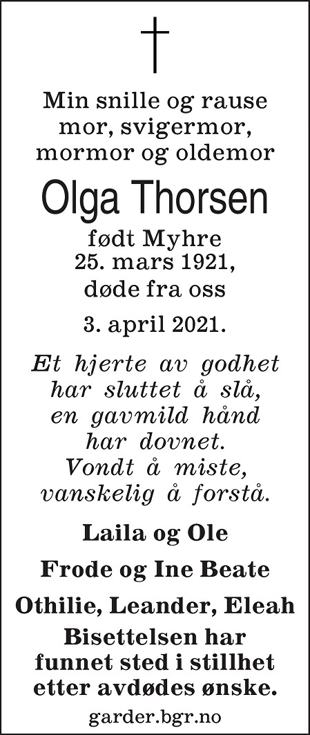 Olga Thorsen Dødsannonse