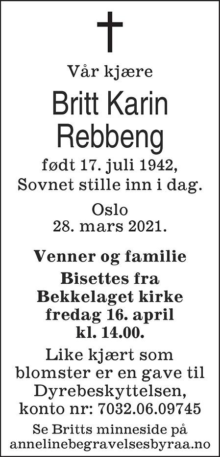 Britt Karin Rebbeng Dødsannonse