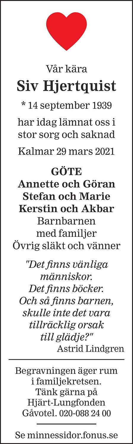 Siv Hjertqvist Death notice
