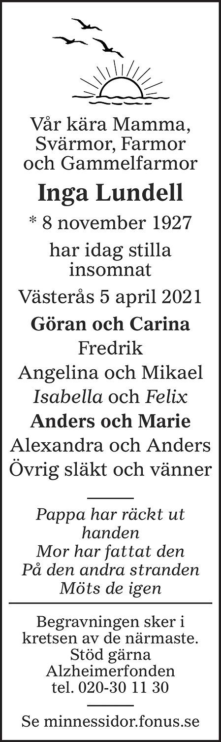 Inga Lundell Death notice