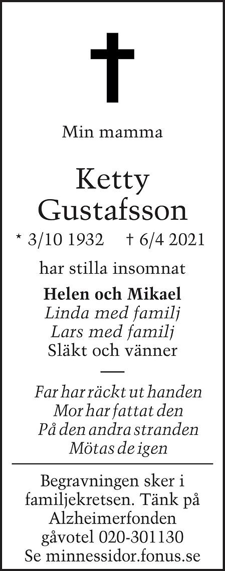 Ketty Gustafsson Death notice