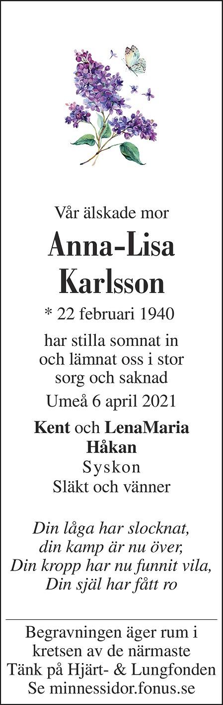 Anna-Lisa Karlsson Death notice