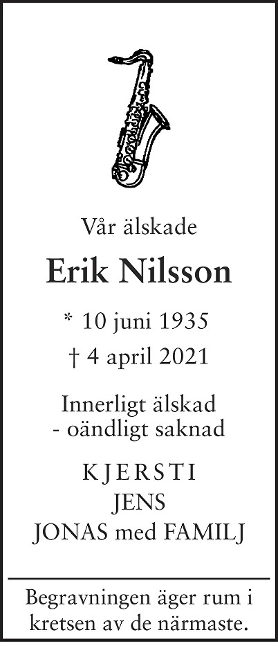 Erik Nilsson Death notice