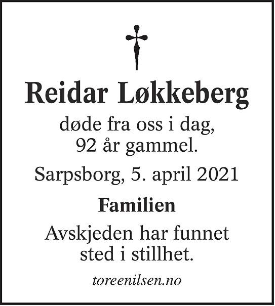 Reidar Løkkeberg Dødsannonse