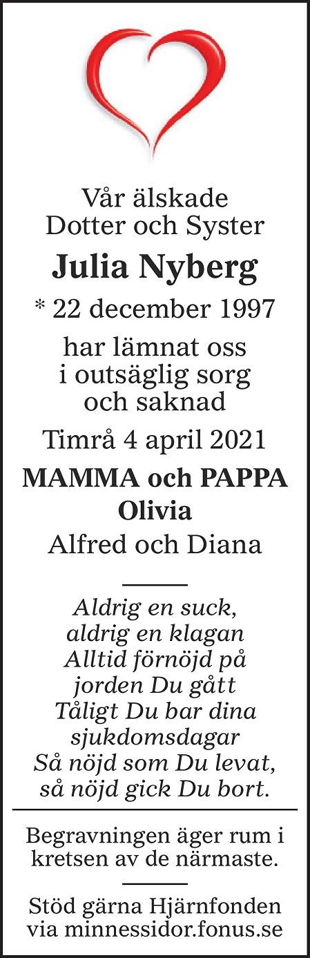 Julia Nyberg Death notice