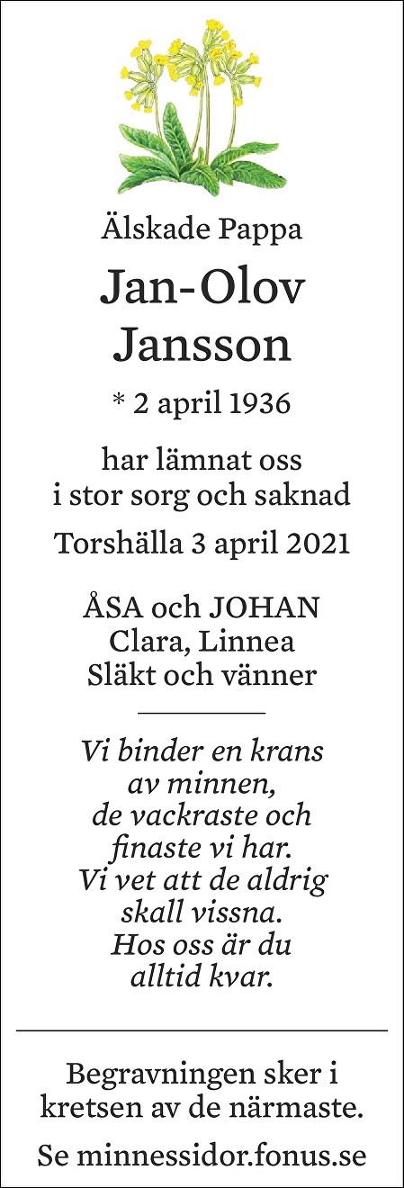 Jan-Olov Jansson Death notice