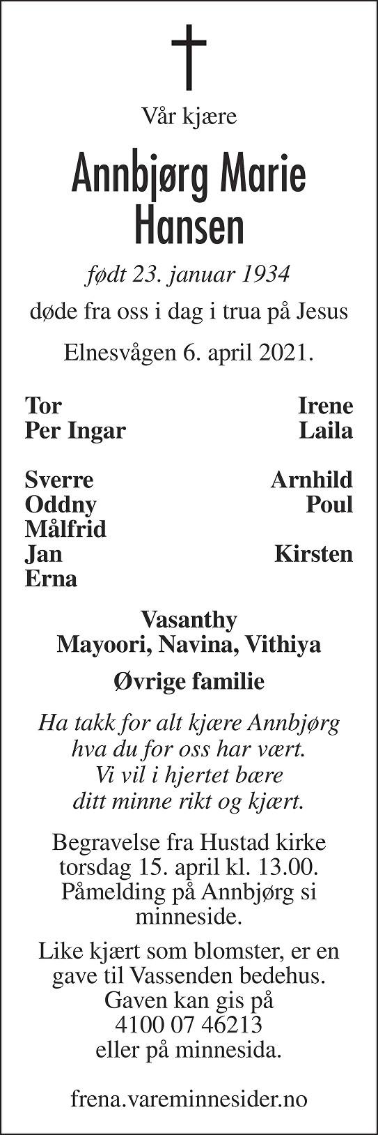 Annbjørg Marie Hansen Dødsannonse