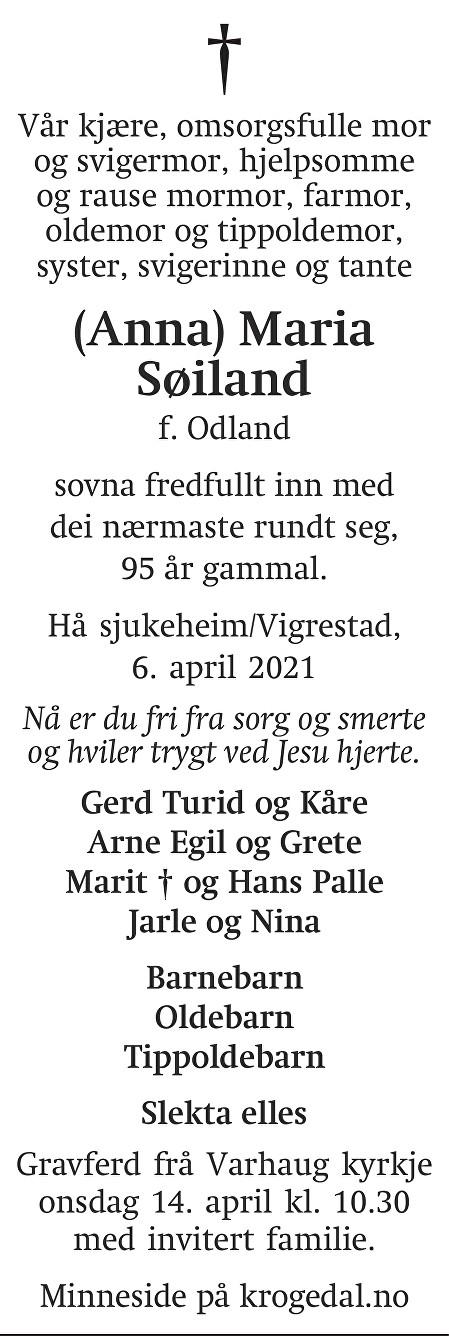(Anna) Maria Søiland Dødsannonse