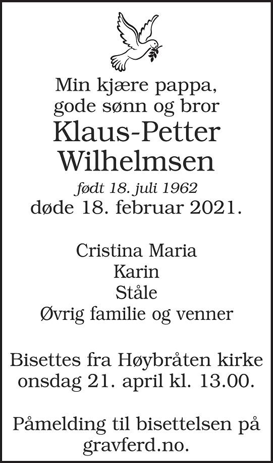Klaus-Petter Wilhelmsen Dødsannonse
