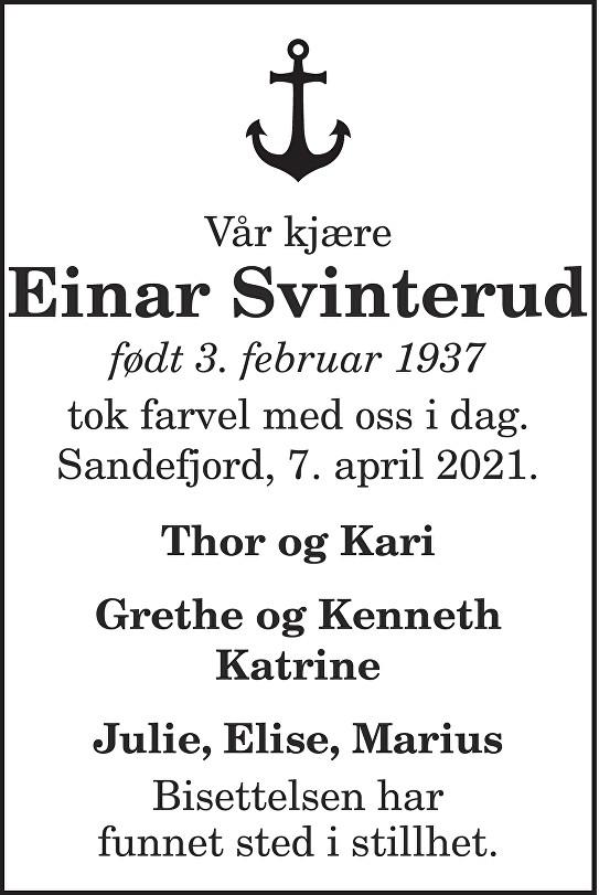 Einar Svinterud Dødsannonse