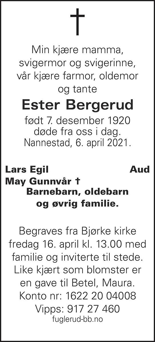 Ester Bergerud Dødsannonse