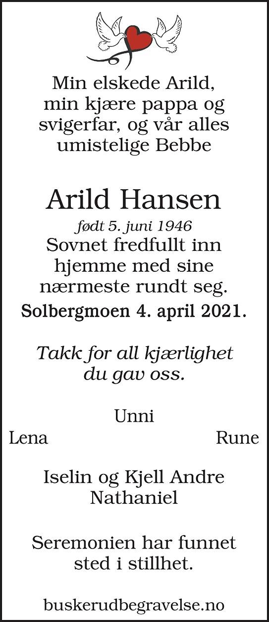 Arild Hansen Dødsannonse