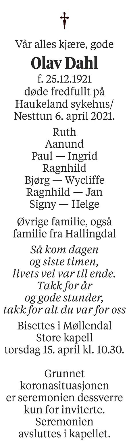 Olav Dahl Dødsannonse