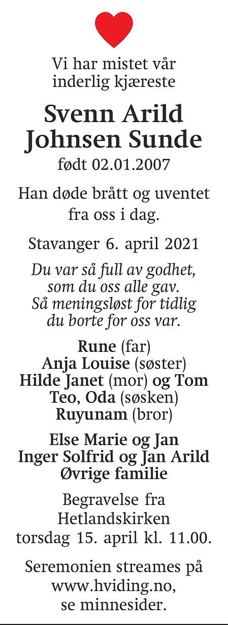 Svenn Arild  Johnsen Sunde Dødsannonse