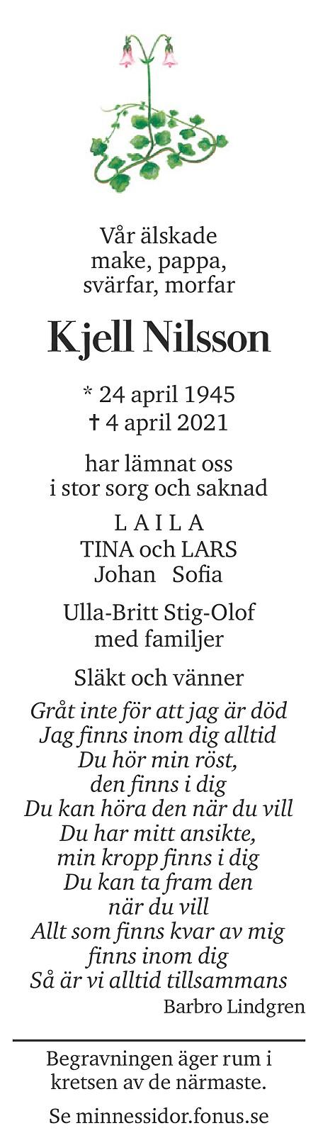 Kjell Nilsson Death notice