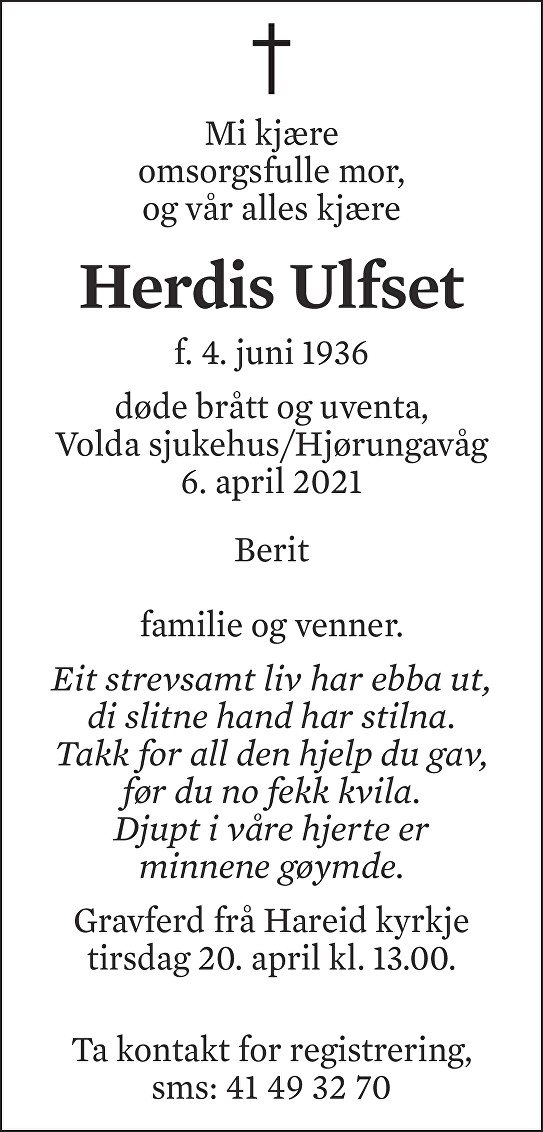 Herdis Ulfset Dødsannonse