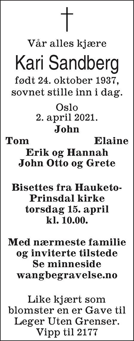 Kari Sandberg Dødsannonse