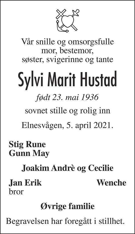 Sylvi Marit Hustad Dødsannonse