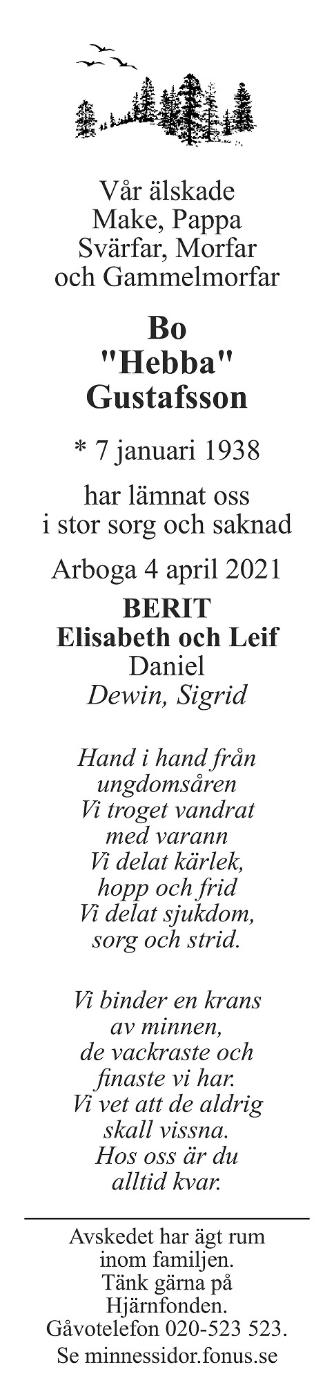 Bo Gustafsson Death notice
