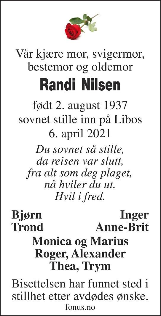 Randi Nilsen Dødsannonse