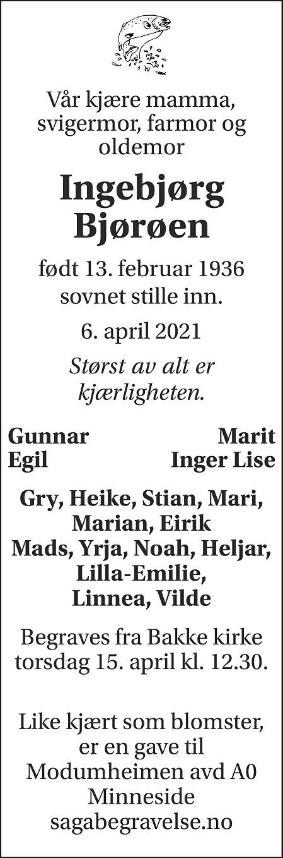 Ingebjørg Bjørøen Dødsannonse