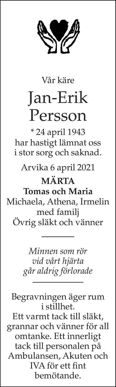 Jan-Erik Persson Death notice