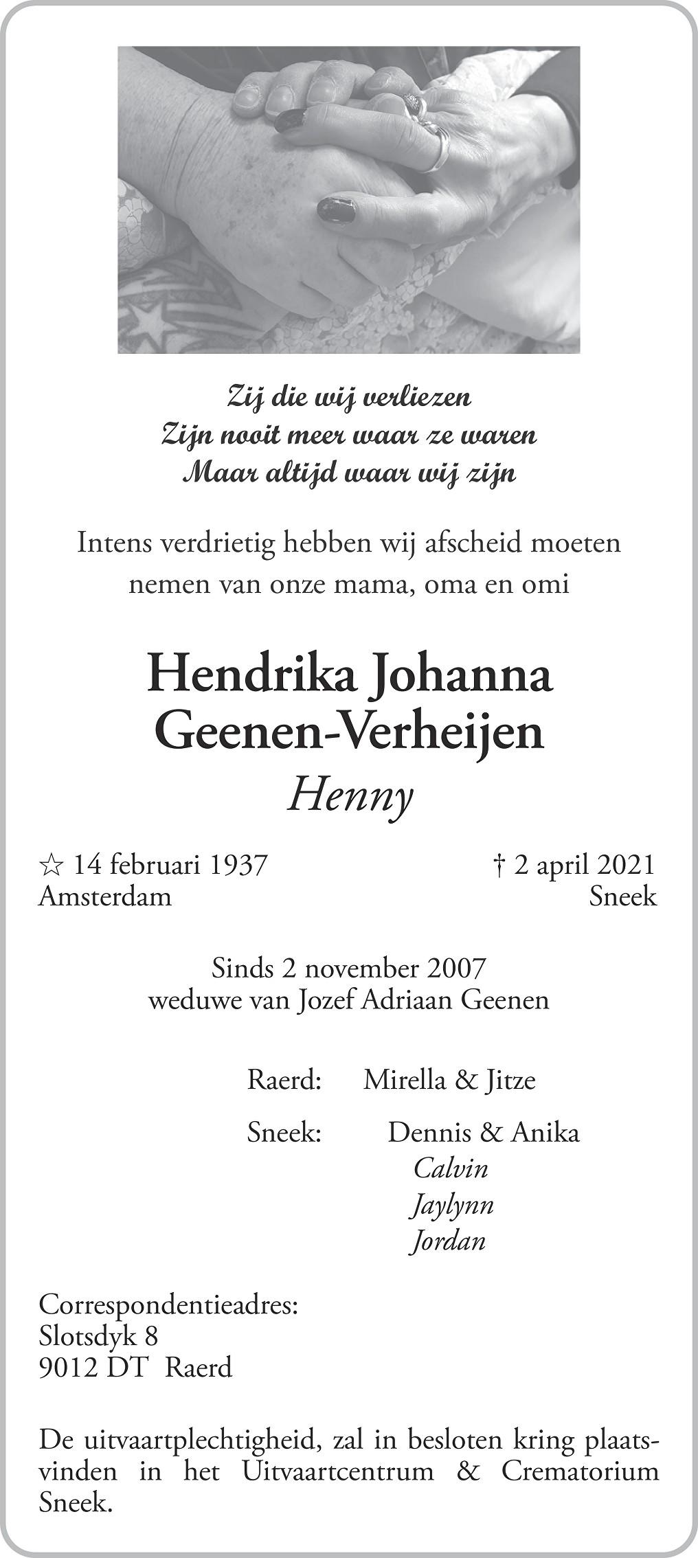 Hendrika Johanna Geenen-Verheijen Death notice