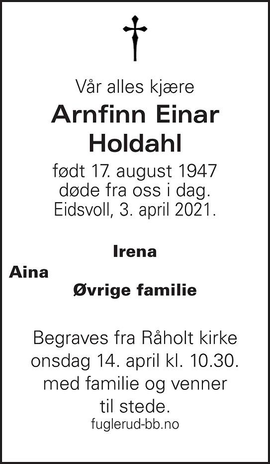 Arnfinn Einar Holdahl Dødsannonse