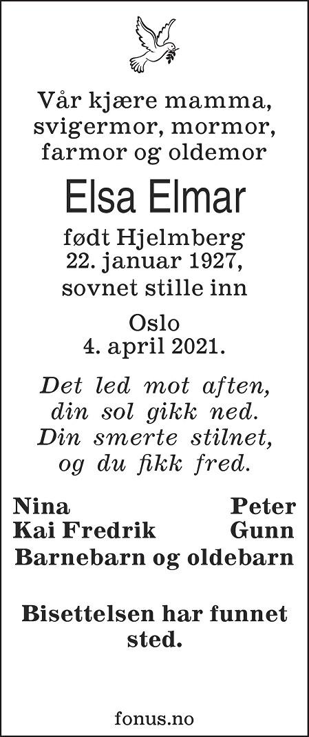 Elsa Elmar Dødsannonse