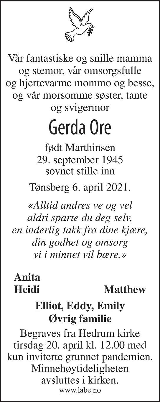 Gerda Ore Dødsannonse
