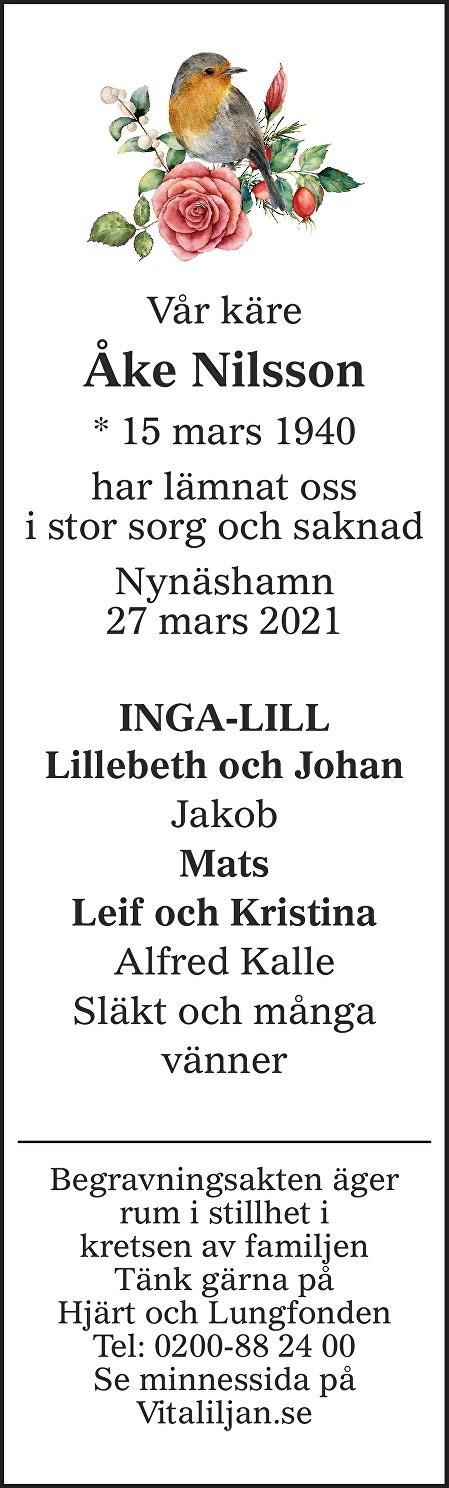 Åke Nilsson Death notice